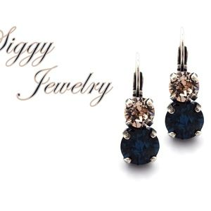 Swarovski Crystal Montana Blue and Silk Earrings